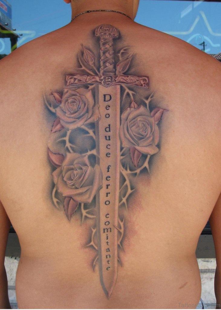 40 elegant sword tattoos for back for Crossed swords tattoo