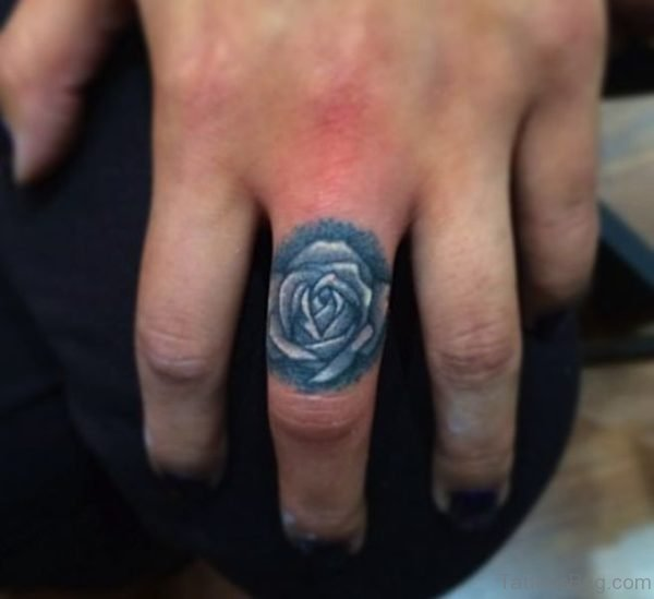 Rose Tattoo Design On Middle Finger