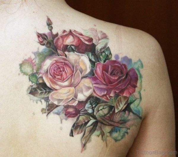 Rose Tattoo Design On Shoulder Back