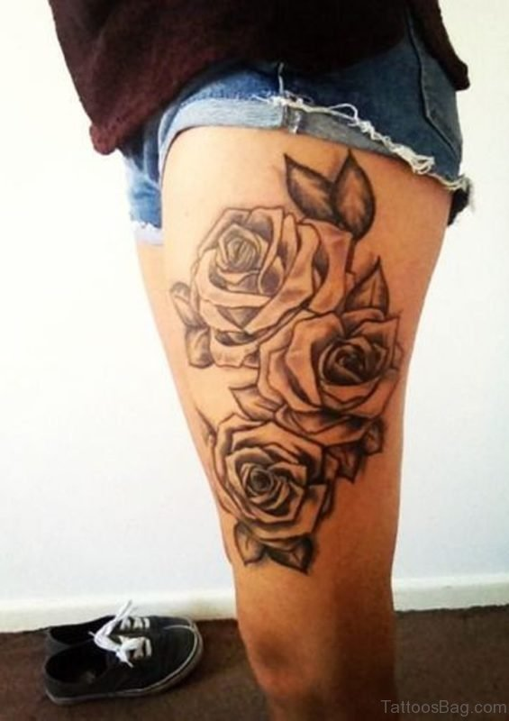 Rose Tattoo Design On Thigh