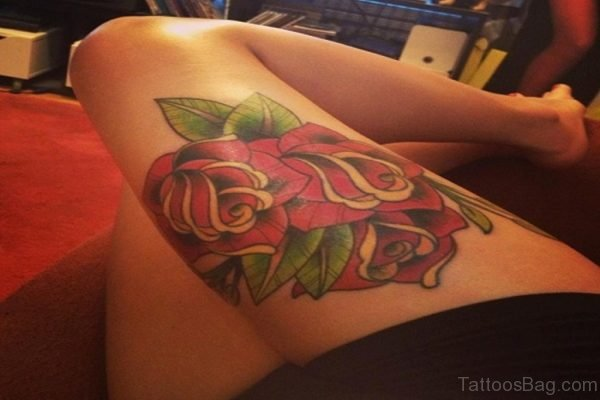 Rose Tattoo For Thigh