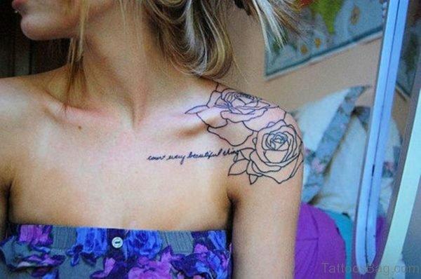 Rose Tattoo On Left Shoulder