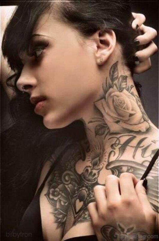 Rose Tattoo On Neck For Women