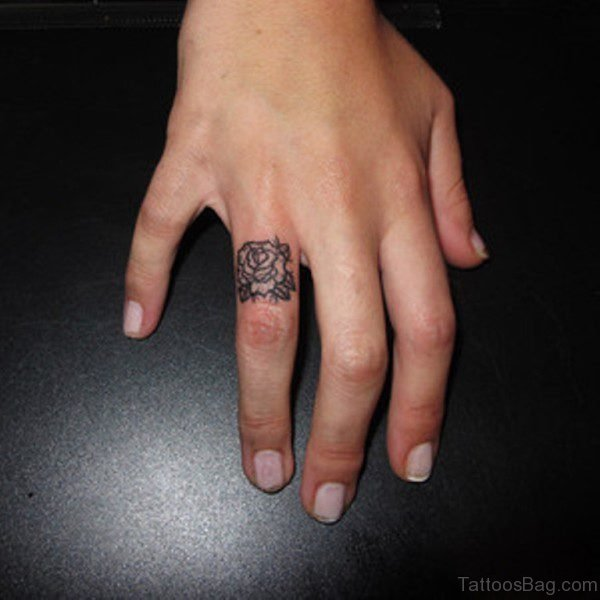 Rose Tattoo On Ring Finger