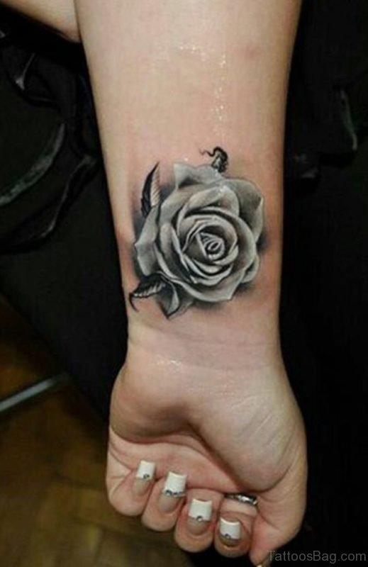 Grey Rose Tattoo