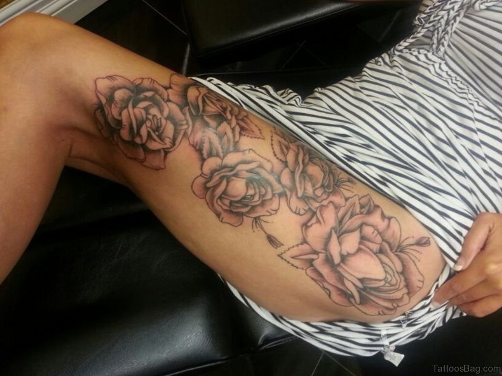 74 superb rose tattoos on thigh. Black Bedroom Furniture Sets. Home Design Ideas