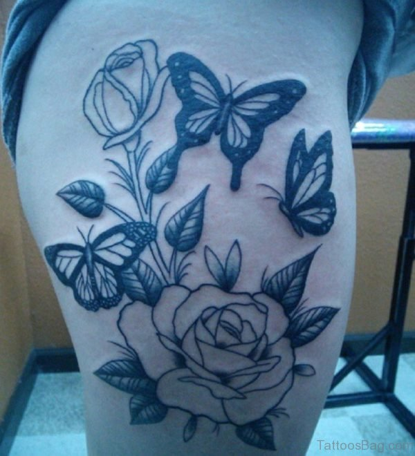 Rose With Butterfly Tattoo On Thigh