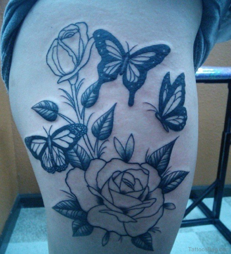 9488ba605a161 Rose With Butterfly Tattoo On Thigh