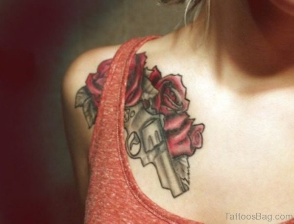 Rose With Gun Tattoo For Women
