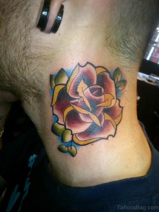 Rose With Leaves Tattoo On Neck
