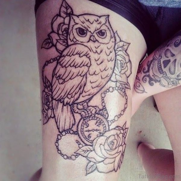 Rose With Owl Tattoo