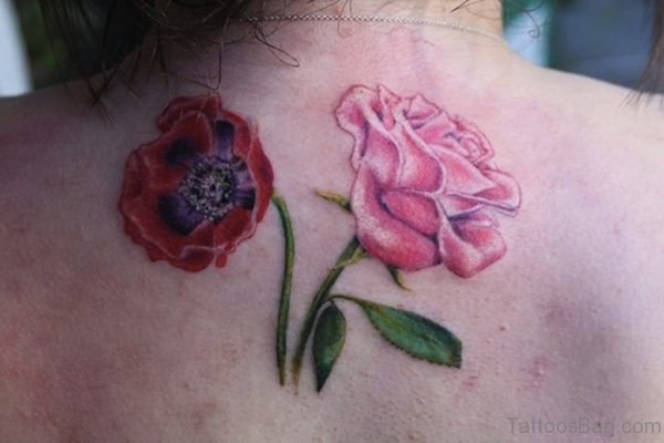 Rose With Poppy Tattoo