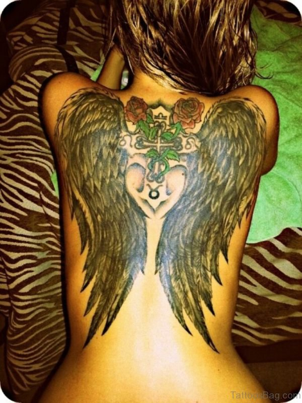 Rose Cross And Angel Tattoo