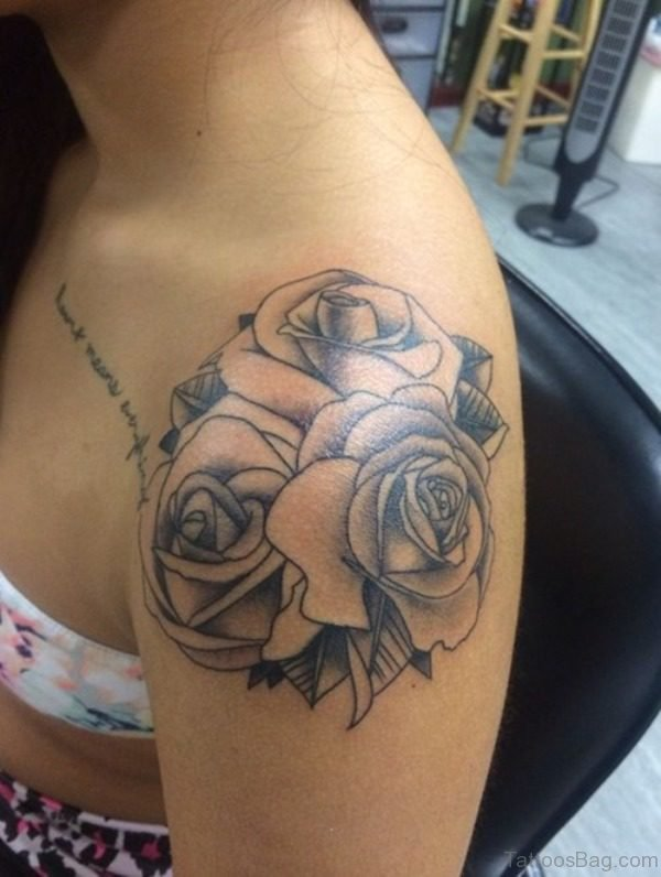Roses Blade Shoulder Tattoo For Women