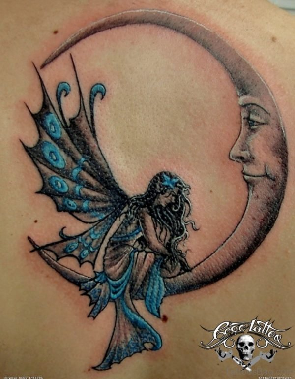 Sad Fairy And Moon Tattoo