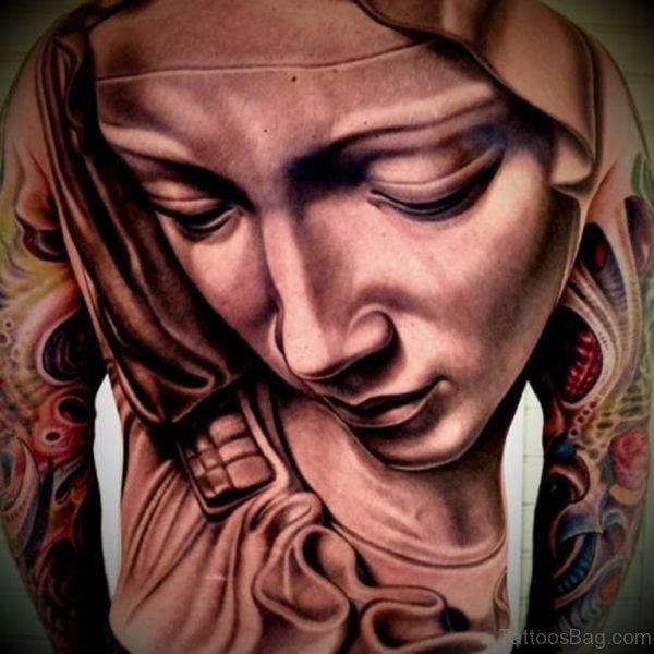 Sad Mary Face Tattoo