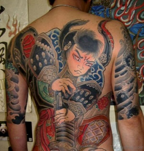 Samurai And Snake Tattoo