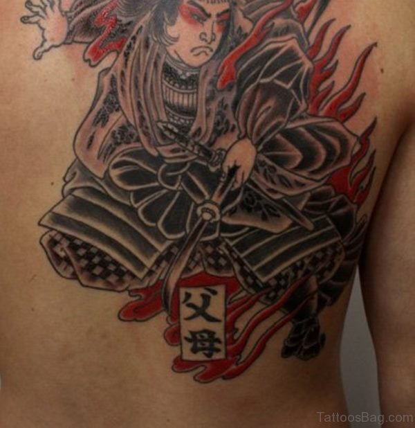 Samurai Tattoo On Upper Back