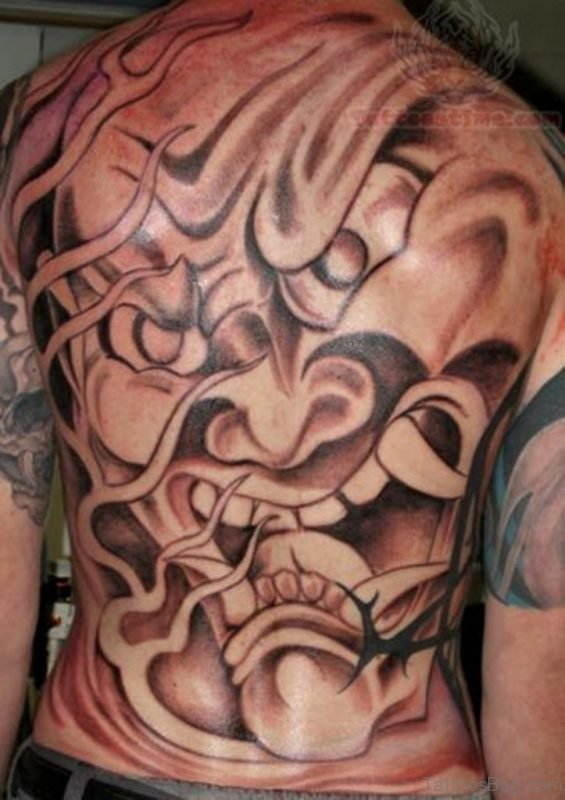Samurai Demon Tattoo On Back