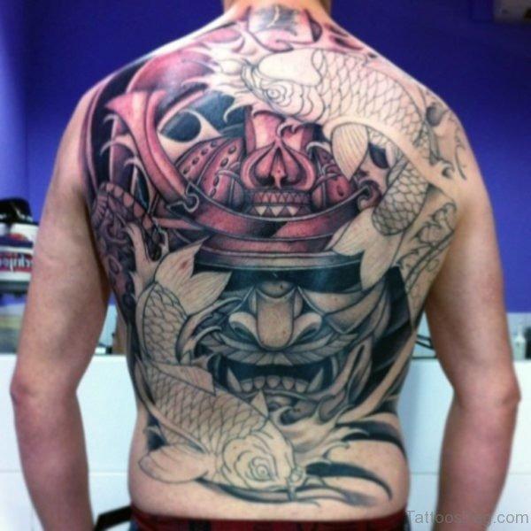 Samurai Mask And Koi Carp Back Tattoo