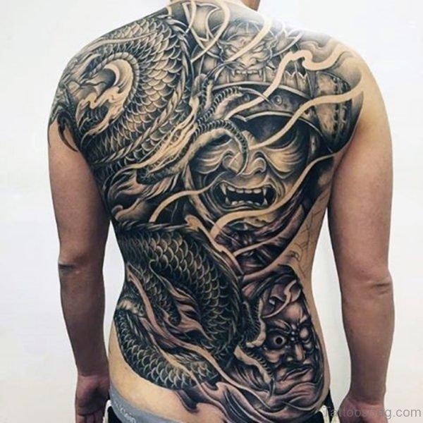 Samurai Mask Tattoo On Back