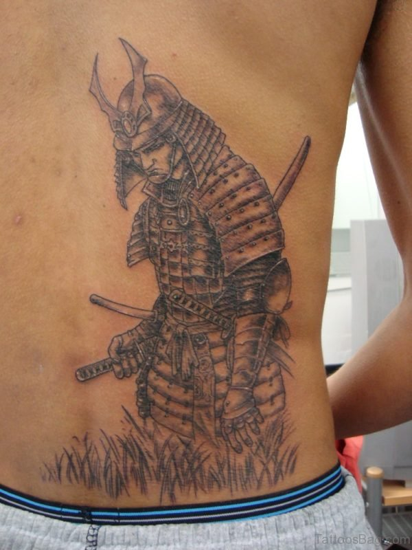 Samurai Warrior Tattoo On Lower Back