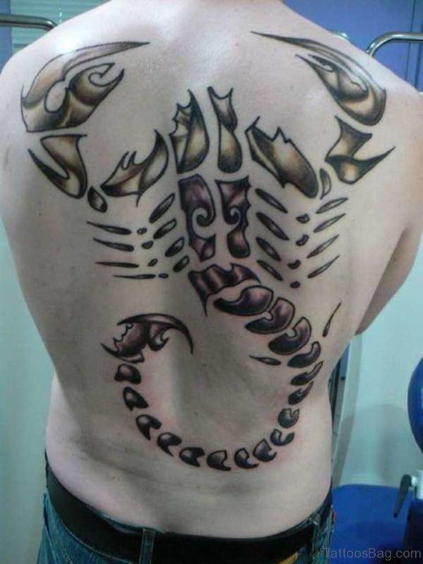 Scorpion Tattoo On Whole Back
