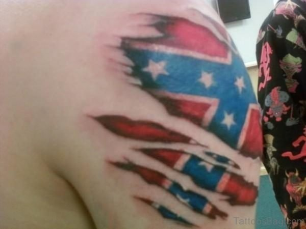 Sensational Rebel Flag Ripped Skin Tattoo For Men