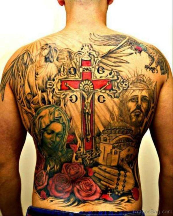 Serbian  Jesus Tattoo On Full Back