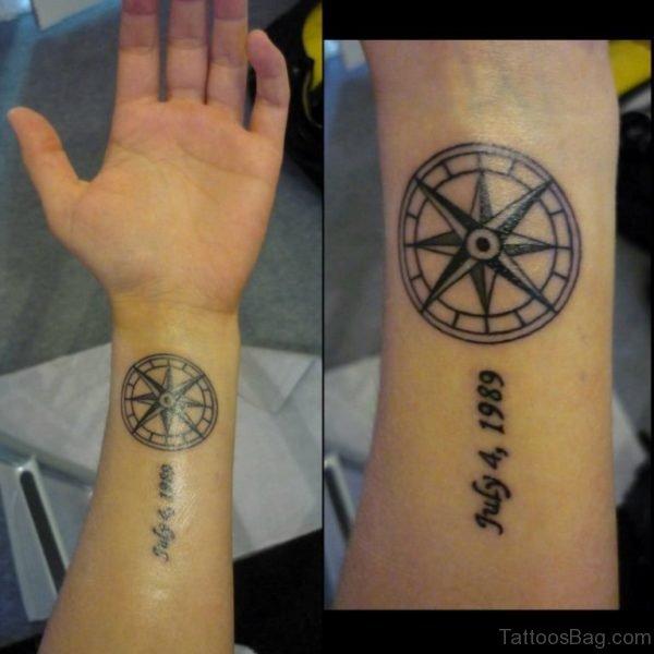 Shining Compass Tattoo