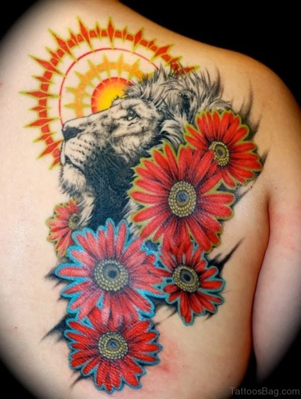 Shining Lion Sunflower Tattoo For Back