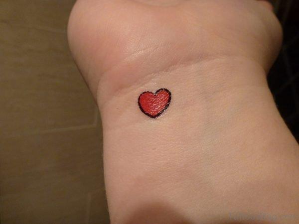 Shinning Red Heart Tattoo