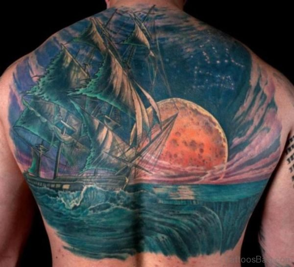 Ship And Moon Tattoo