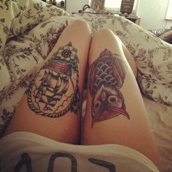 Ship And Owl Tattoo