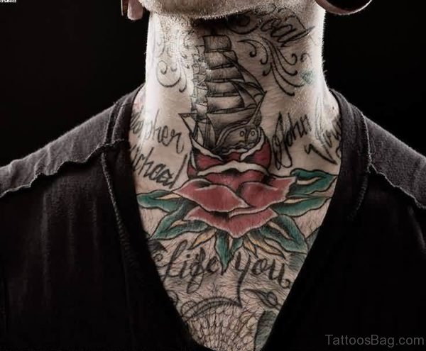Ship And Rose Tattoo On Neck