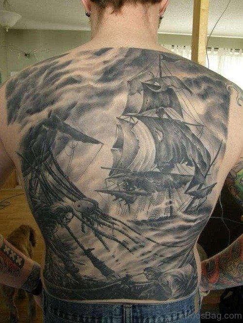 Ship Tattoo On Full Back