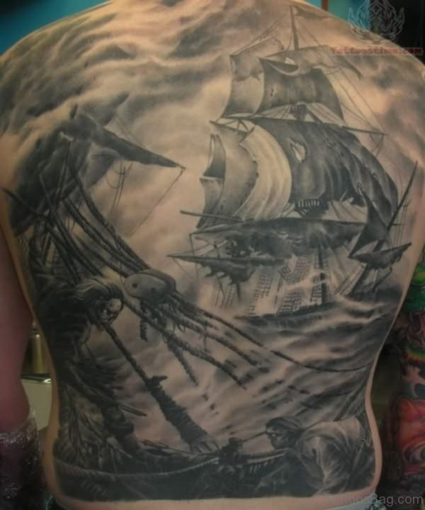 Ship Tattoo On Full Back