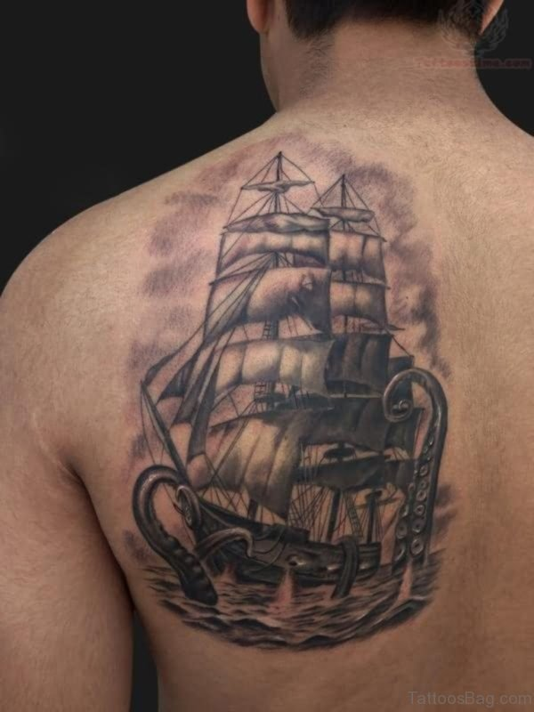 Ship Tattoo On Left Back
