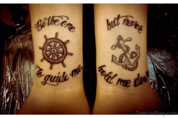 Ship Wheel And Anchor Tattoo
