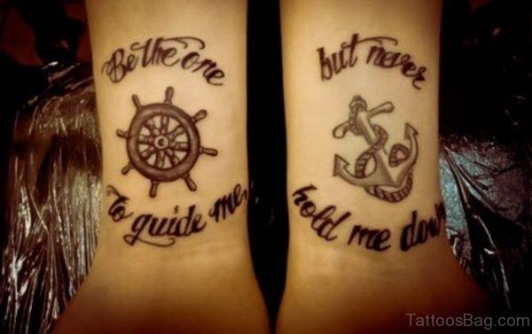Ship Wheel And Word Tattoo