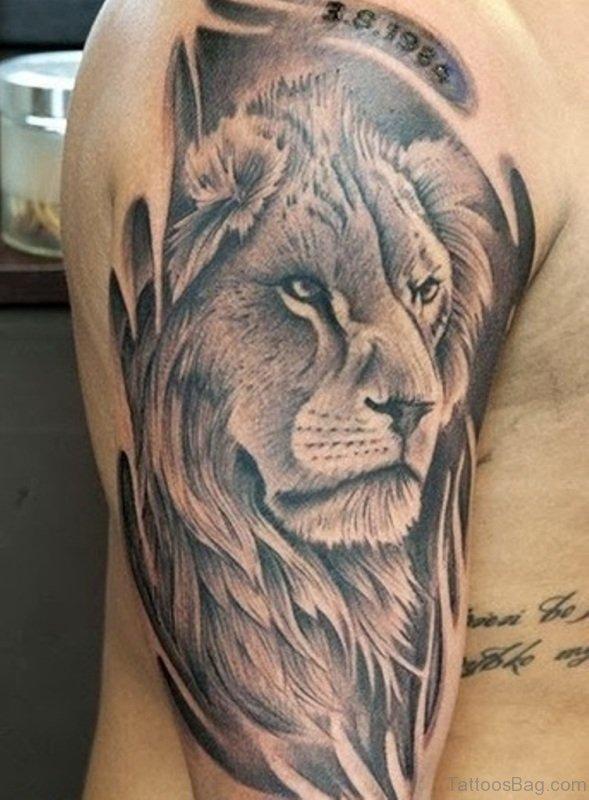 97 groovy lion tattoos on shoulder for Leo shoulder tattoos