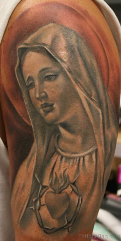 Shoulder Tattoo Of Mary
