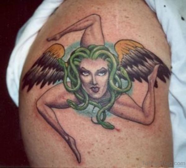 Sicilian Medusa Tattoo On Shoulder