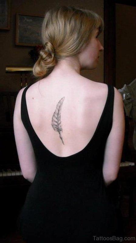 Simple Black Feather Tattoo On Back