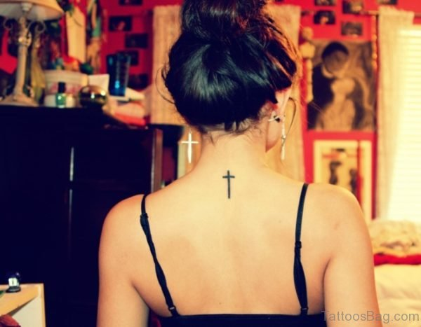 Simple Cross Tattoo For Women