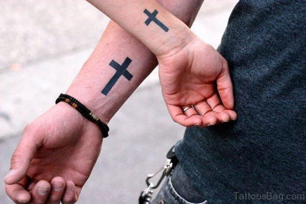 Simple Cross Tattoo On Wrist