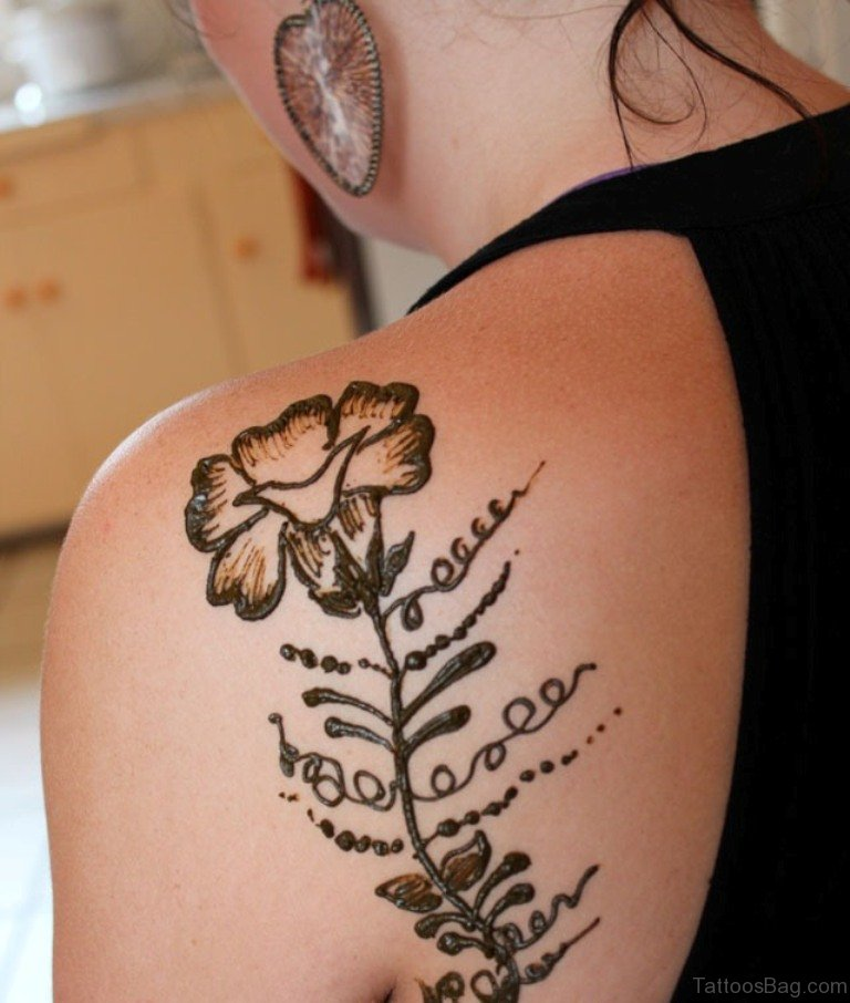 Simple Flower Tattoo Ideas: 45 Lovely Henna Tattoo On Shoulder