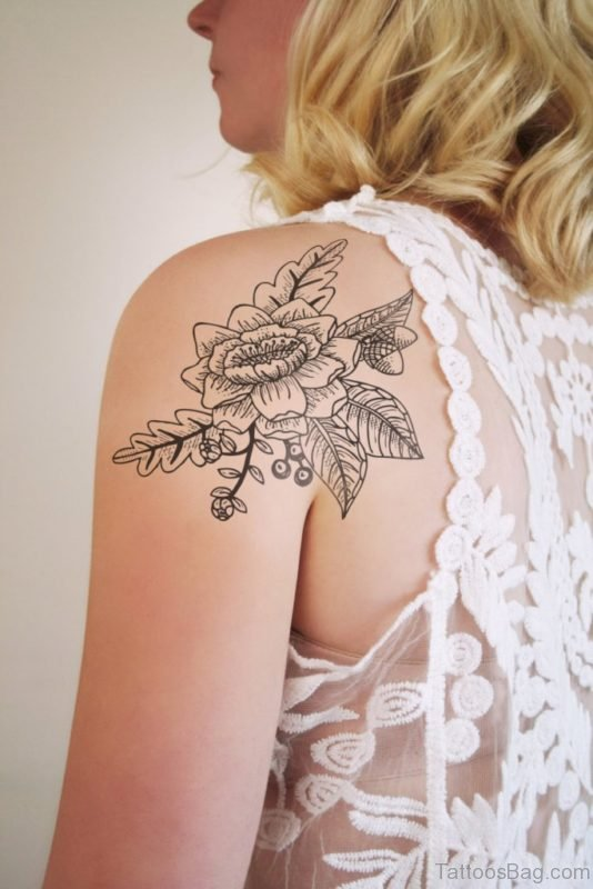 Simple Flower Vintage Tattoo Design
