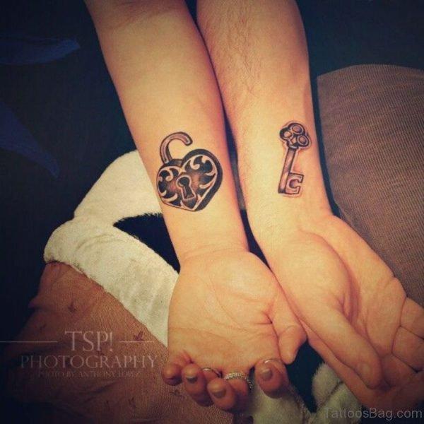 Simple Heart Lock And Key Tattoo