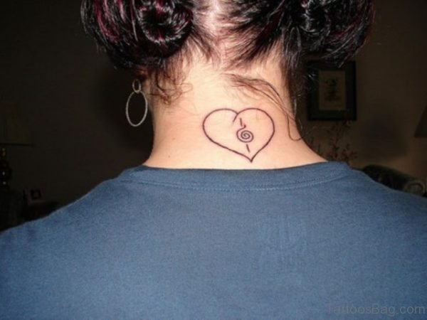 Simple Heart Tattoo On Back Neck